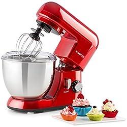 Klarstein Bella Pico Mini - Robot de cuisine , Mélangeur , Machine à pétrir , 550-800W , 6 vitesses , 4 litres , Bras multifonction , Bol inox , 3 accessoires , Compact , Solide , Rouge