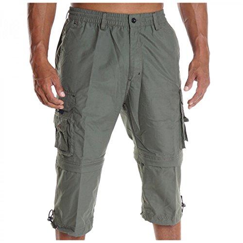 Herren Bermuda Cargo Shorts Kurze Hose Capri Casual Pasteur H2078, Farbe:Grün;Größe:M (Eingestellt Cargo-short)