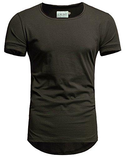 Dunkle Armee Grünen T-shirt (Crone Herren Kurzarm Rundhals Basic Oversize Slim Fit T-Shirt in vielen Farben (L, Oliv))