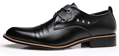 Anlarach Hommes En Cuir à Lacets Pantoufle Formel Robe D'affaires Oxford Chaussures Noir