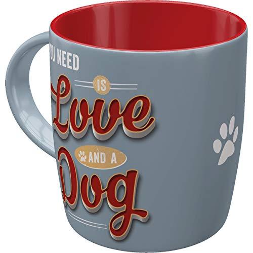 Nostalgic-Art 43040 PfotenSchild - Love Dog | Retro Tasse für Hunde-Liebhaber | Kaffee-Becher | Geschenk-Tasse | Vintage