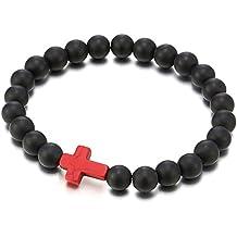 d0e5704cad0e5 COOLSTEELANDBEYOND Homme Femme Extensible Mat Noir Onyx Perles Bracelet  avec Rouge Croix Charm