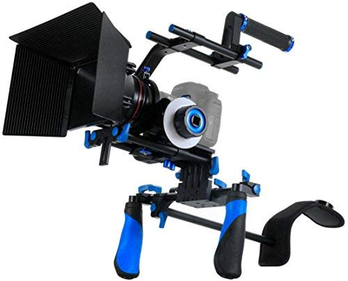 Morros Pro DSLR Rig Kit Schulterstativ + Follow Focus + Matte Box + Pro C-Tragarm + Gegengewicht für alle DSLR-Kameras und Video-Camcorder Matte Box Kit