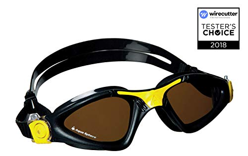 Aqua Sphere Kayenne Schwimmbrille, Polorized Lens-Black/Yellow, Regular Fit