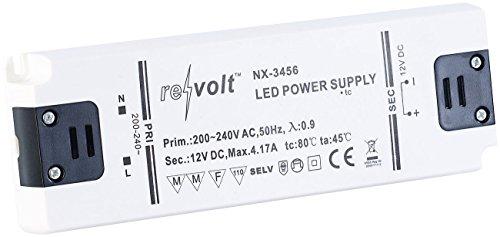 revolt LED Driver: LED-Trafo, 230 V Input, 12 V Output, bis 50 W (LED Vorschaltgerät)
