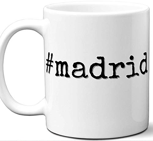 #madrid Hashtag Mug Gift. Cool, Hip, Unique Instagram Themed Hash Tag Themed Tea Cup Idea for Men, Women, Birthday, Mothers Day Fathers Day Christmas, Coworker.