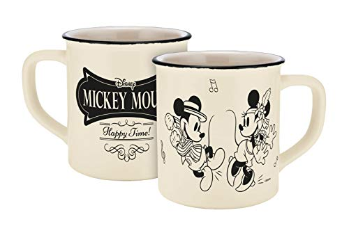 Disney Mickey Mouse 13754 Disney Mickey & Minnie Vintage Happy Time Emaille-Optik Tasse, Porzellantasse, Kaffeetasse, Keramik, Beige