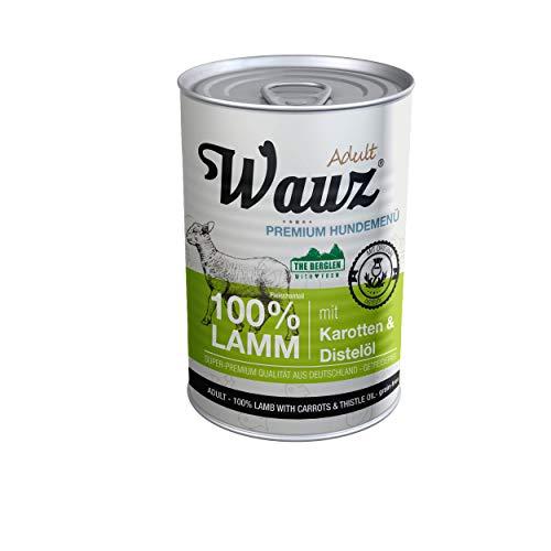 MAUZ & WAUZ Hundefutter Nass 100% Lamm mit Karotten & Distelöl - (6er VE)