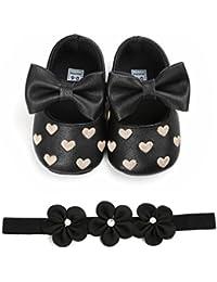 f6e558f146a Fossen Zapatos de Bebe Fossen Recién Nacido Niñas Piel Artificial Primeros  Pasos Bordado Corazón Patrones Y