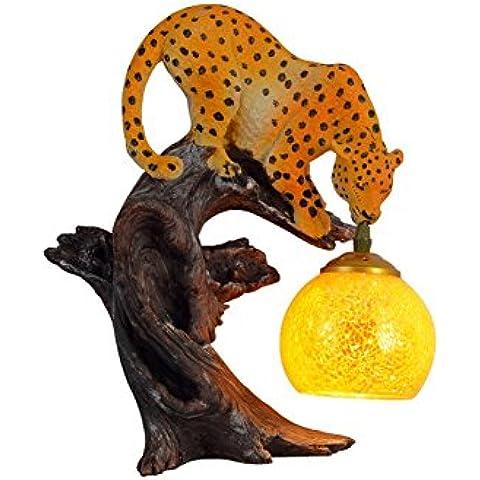 BJVB Cristal pared lámpara techo lámpara interior resina pasillo punto puntos un leopardo modelado lámpara de
