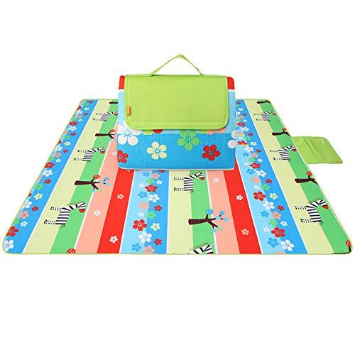 TXDY Outdoor-Picknick-Deckenmatte, 200 x 200 cm Verbreiterte feuchtigkeitsbeständige Auflage mit wasserfester Unterlage Waschbare Rasenmatte Verdickte Picknick-Pads für Strand,F