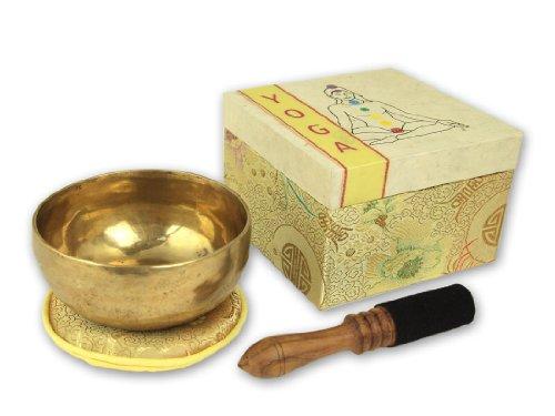 Geschenkset YOGA Klangschale mit Zubehör in Geschenkbox mit Chakrensymbol, inklusiv cremefarbener Unterlage sowie Holz.-/Lederklöppel -5069-L-