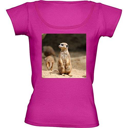 T-shirt Rosa Fuschia Girocollo Donne - Taglia S - Meerkat Fauna Simpatico Animale by WonderfulDreamPicture