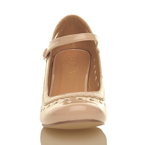 Chaussures escarpins babies classique cœur découpée femmes petit talon taille Chair vernis