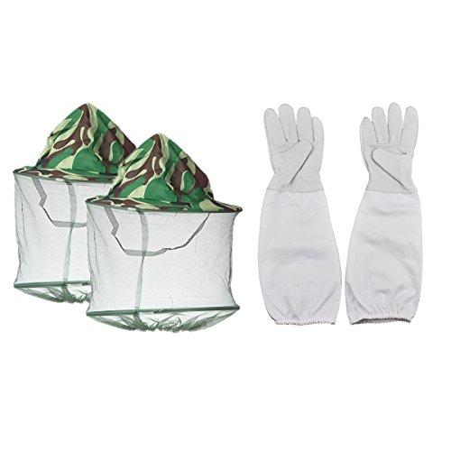 Imker Handschuhe und Maske Gap Hat, ein Paar Ziegenleder Bienenzucht Schutz Handschuhe mit Belüftete Ärmel und 2Pack Camouflage Bienenzucht Maske Gap Hat perfekt für den Anfänger Imker -