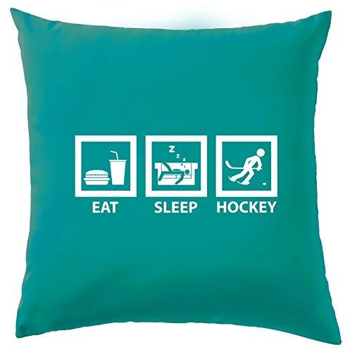 Nhl Vintage Hockey Jersey (Evolution des Menschen Eat Sleep Hockey Kissen-41x 41cm (40,6cm)-10Farben, 100 % Baumwolle, türkis, 41 x 41cm (16