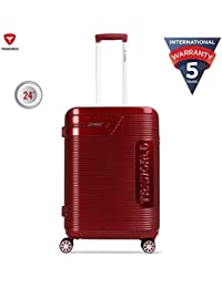 Traworld Booster Premium ABS Polycarbonate 66cm Red Hardside 8 Wheels Spinner Travel Trolley Luggage Suitcase with Built-in TSA Lock
