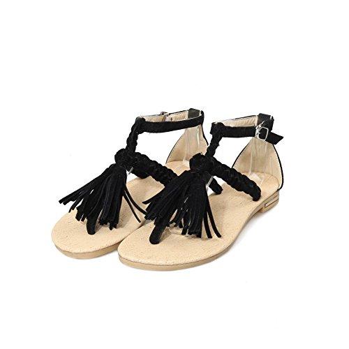 Odomolor Donna Fibbia Senza Tacco Pelle Di Mucca Frange Heeled-Sandals Nero