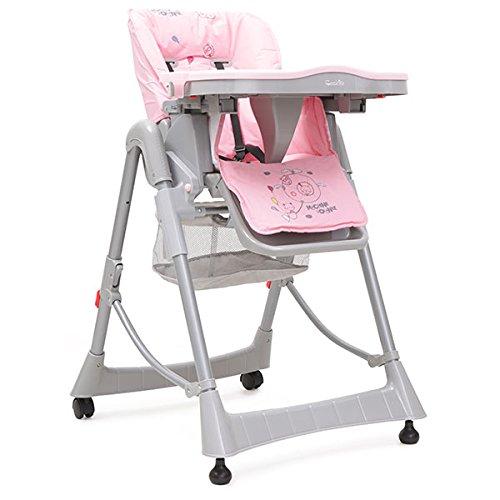 Hochstuhl Cookie, Tisch, klappbar höhenverstellbar, abnehmbares Sitzpolster (Pink)