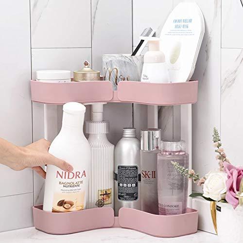 Rangement de Maquillage,Large Capacité, Organisateur de Maquillage, Support de Rangement d'angle Étagères Support de Rangement d'angle,Convient pour la Salle de Bain et la Cuisi (Pink)