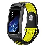 BZLine Armband | Doppelte Farbe Weiches Silikon Sport Uhrenarmband | Für Samsung Gear Fit2 / Gear Fit 2 PRO Smart Uhr | Robust und Langlebig | Einfach zu Justieren | Handgelenkgröße: 6,1-7,8 Zoll | 7 Farben (D)
