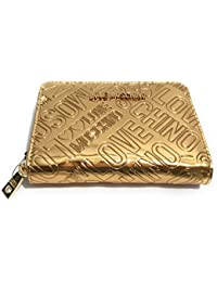 e129ff4ab3 Moschino PORTAFOGLIO DONNA LOVE LOGO EMBOSSED ZIP AROUND SMALL LAMINATO  GOLD A18MO36