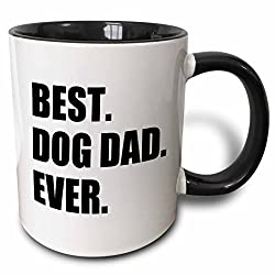 3dRose Best Dog Dad Ever Fun Pet Owner Gifts for Him Animal Lover Text Two Tone Black Mug, 11 oz, Black/White