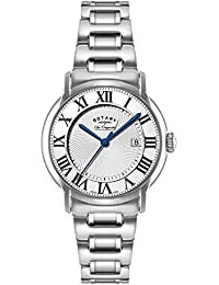 Rotary Men's Quartz Watch with White Dial Analogue Display and Silver Stainless Steel Bracelet GB90140/06
