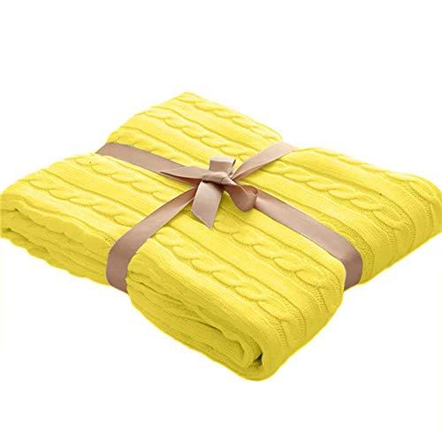 Jweal Bettdecke für Doppelbett, Gestrickte Decke, Bettüberwürfe, superweiche Baumwoll-Wolle, groß, waschbar für Bett, Stuhl, Sofa, Couch, Büro, Reisen (120 x 180 cm) gelb
