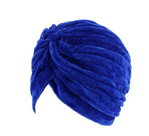 Zac\'s Alter Ego plissierter Samt-Turban, Vintage, ideal bei Haarverlust oder als Mode-Accessoire, blau