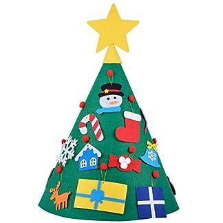 Ogquaton Juego de árbol de Navidad de Fieltro de Bricolaje con Adornos para niños Año Puerta Colgante de Pared Decoración