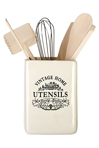 Premier Housewares - Utensilios de cocina con soporte cuadrado, color blanco - gama vintage home - cerámica