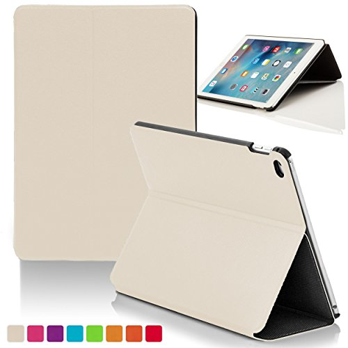 Forefront Cases® Apple iPad Mini 4 / 4th Gen Hülle Schutzhülle Tasche Bumper Folio Smart Case Cover Stand - Ultra Dünn mit Rundum-Geräteschutz und intelligente Auto Schlaf/Wach Funktion (WEIß) (Ipad Mini Clam)