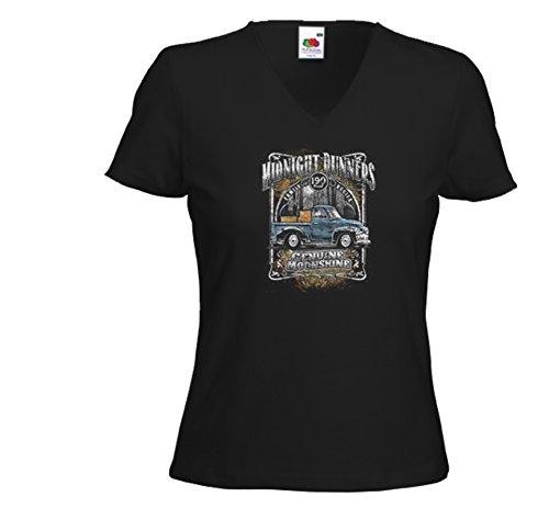 Booze Damen T-Shirt Midnight Runners Hot Rod Whiskey Rockabilly Schwarz