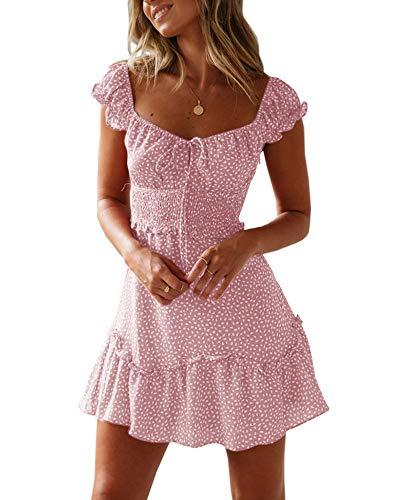 Ybenlover Damen Blumen Sommerkleid High Waist Volant Kleid Vintage Minikleid Strandkleid -