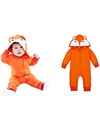 Alif_Laila - Cute Fox Character Footed Cotton Jumpsuit ,Romper Baby Boy/Girl with Hood