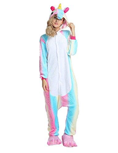 Très Chic Mailanda Unisex Erwachsene Schlafanzug Karneval Tier Cosplay Plüschtier Kapuzenkostüm(Blau Einhorn) (Size-XL(175-185CM), Bunt Pferd (Kostüm Zwei Einhorn Mann)
