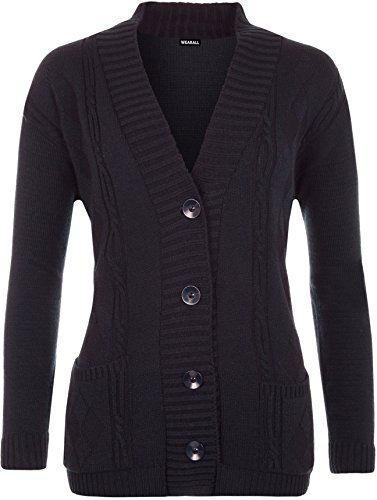 WearAll - Grande Taille Bouton manches longues Pocket Haut Ladies Cardigan en maille - Cardigans - Femmes - Grande Tailles 42 à 48 Bleu Marine