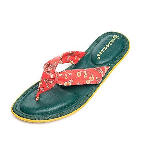PENGFEI sandali delle donne Pantofole estive Sandali flip flops sabbia femmina Sandali semplici semplici di lavoro femminili Nero, oro, verde e giallo Confortevole e traspirante ( Colore : Verde , dim Verde