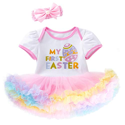 jgashf Kind Kleid Set Baby Mädchen Cartoon Kurzarm Ei Brief drucken Romper Tutu Prinzessin Rock Zweiteiliges Set Kind Top T-Shirt + Regenbogen Rock Kinderkleidung(Weiß,73