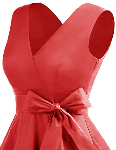 Dresstells Version 7.0 Vintage 1950's robe de soirée cocktail col en V sans manches rétro style années 50 Rouge