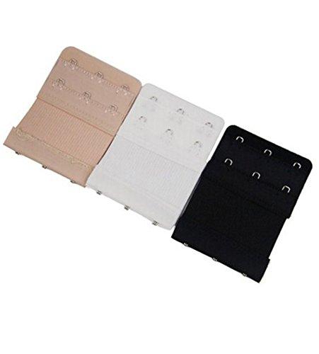 Hosaire 3X Farbe BH-Verlängerung für BHS mit 3 Haken Frauen Weichen Rücken BH Band Extender