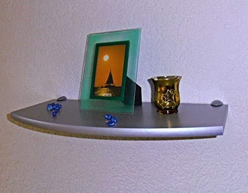 Trend-System Regalboden Solido Eckregal/Wandregal Convex, Größe, Form und Farbe wählbar, mit Verschiedenen Wandhalterungen (Convex Silber 60x27 cm, Wandclip Midi Silber)