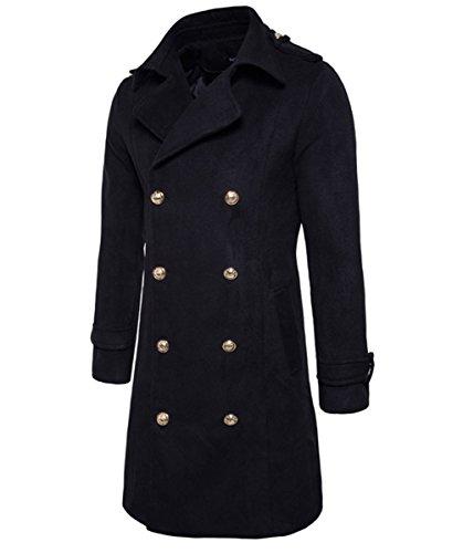 Trench da uomo Wolle Trench Zweireiher lange Mode Business Slim Fit Winter Mantel Nero