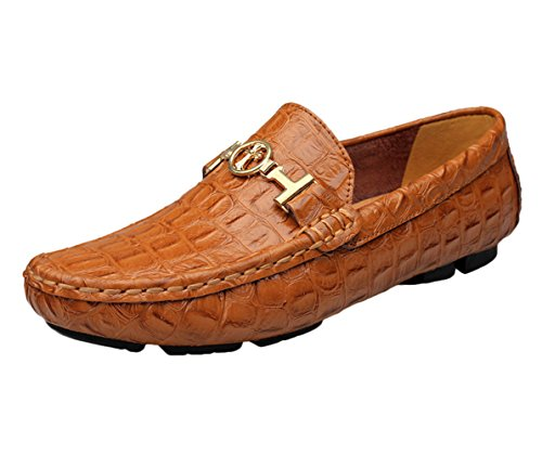 Ommda homme mocassin pantoufle loafer driving chaussures en cuir marrone 41
