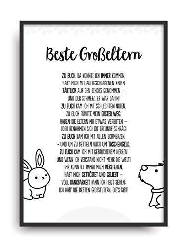 Geschenk Karte BESTE GROßELTERN Kunstdruck Ehrentitel Oma Opa Auszeichnung Bild ohne Rahmen DIN A4