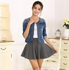Grimtin Women's Plus Size Long Sleeve O-Neck Short Jeans Jacket (Medium)