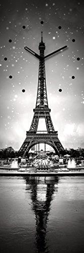 Wanduhr aus Glas, Paris, Eiffelturm, schwarz-weiß, 20x60 cm von Eurographics