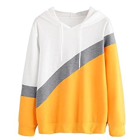 Kapuzenpullover, Frauen Sport Hoodie Mit Kapuze Pullover Tops Bluse von Sannysis (Gelb, 2XL)