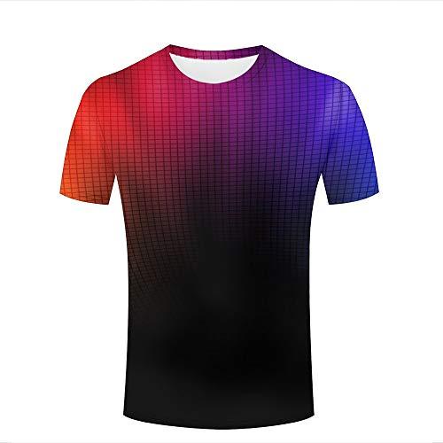Mens 3d t-shirt print red purple gradient geometric short sleeve casual tees fashion couple tees tops xxxl